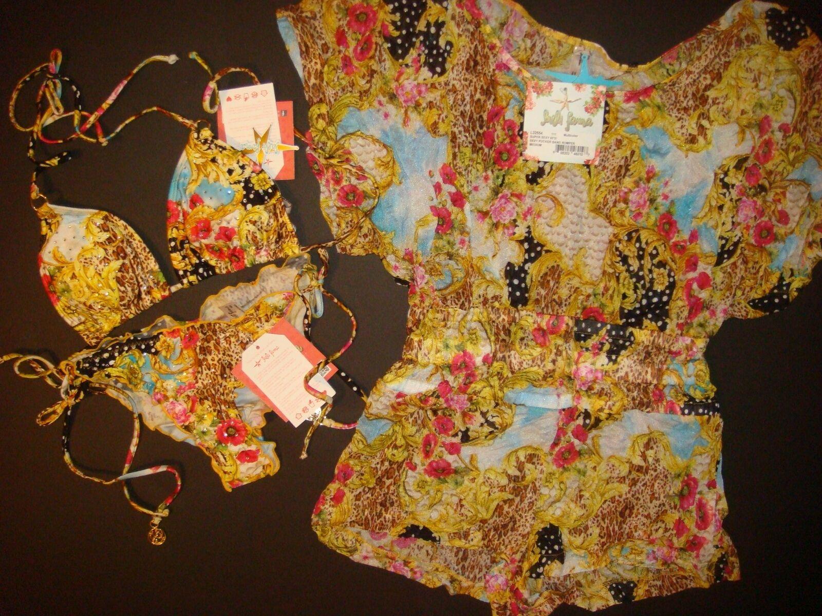 NWT Luli Fama M BIKINI+romper cover up SUPER SEXY 60's yellow pink POPPY crystal