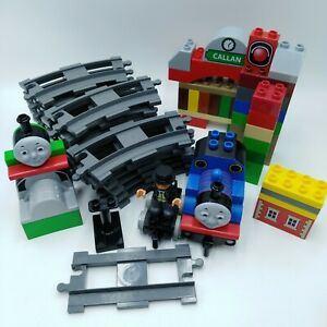 Duplo-Train-Track-Lot-Thomas-the-Train-Gray-Track-Callan-Spencer-Percy-65-Pieces