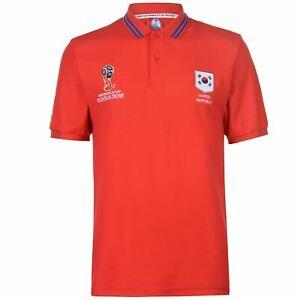 Coupe du Monde FIFA 2018 Corée du Sud Polo shirt pour homme Rouge Football Soccer Top T-Shirt