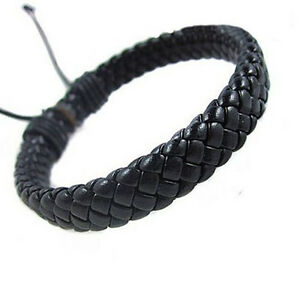 Leather-Bracelet-Bangle-Cuff-Rope-Black-Surfer-Wrap-Adjustable-Men-Women