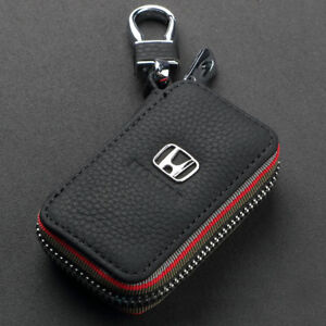 Leather-Car-logo-Key-Chain-Case-Remote-Control-Auto-Keyfob-wallet-bag-For-Honda