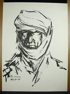 Ben-Shchechnye-1911-1996-Portrait-D-039-Man-Tuareg-Signed-IN-Arabic-Print-O-60cm