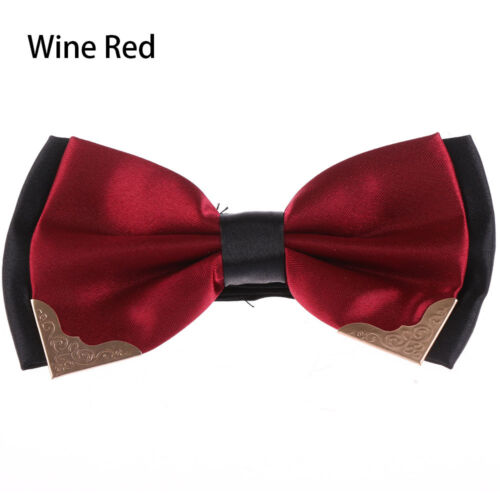 Hot Men/'s Formal Neckwear Bowtie Adjustable Solid Plain Colorful Classic Bow Tie