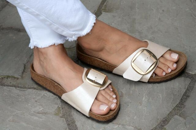 Birkenstock Sandals Big Buckle Madrid graceful pearl white regular BirkoFlor NEW