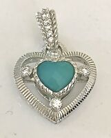 Judith Ripka Sterling Silver Faceted Blue Chalcedony Heart Enhancer Pendant