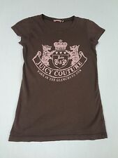 JUICY COUTURE CLASSIC TERRIER AND CROWN LOGO SMALL BROWN WOMENS T-SHIRT E3155