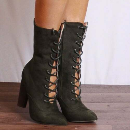 KHAKI GREEN LACE UPS POINTED HIGH HEELED HEELS ANKLE BOOTS SHOES SIZE 3 4 5 6 7