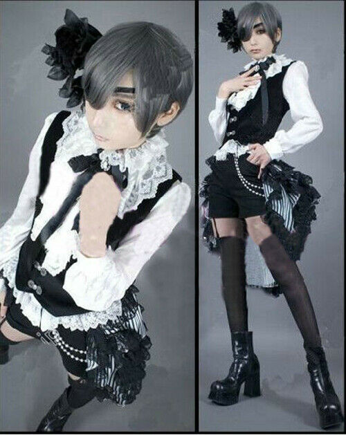 Anime Black Butler Kuroshitsuji Ciel Phantomhive Cosplay Costume Full Set Custom
