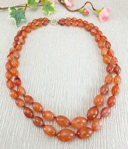 Antiguo-Vintage-Dos-Strand-Naranja-Cornalina-Agata-mano-anudada-Perla-Collar