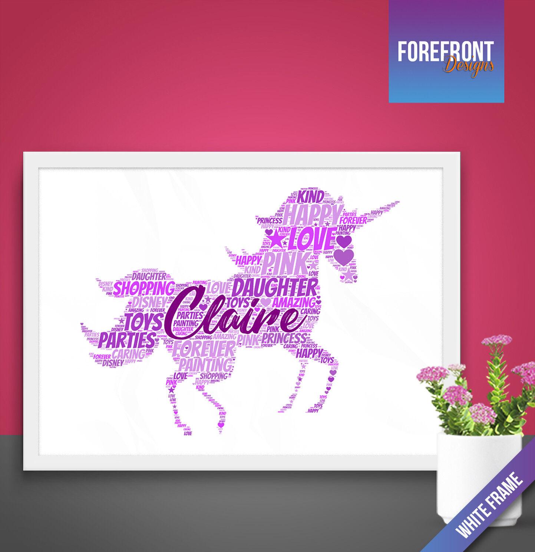 UNICORNO personalizzata Word Art Print-Perfetto Compleanno BOMBONIERA BOMBONIERA BOMBONIERA REGALO RAGAZZA A4 A3 0dc78f