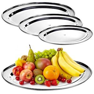 Oval-Silver-Effect-Serving-Plate-Dinner-Tray-Platter-Mirror-Tableware-Polished