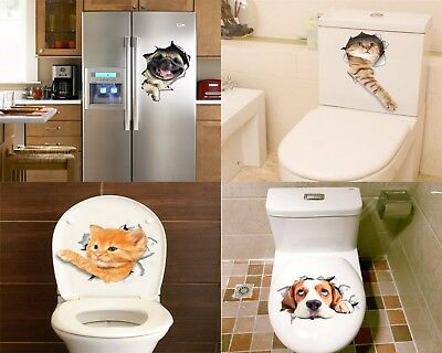 3D Removable DIY Cat Dog Bathroom Toilet Mural Home Decor Wall Stickers Decal QK