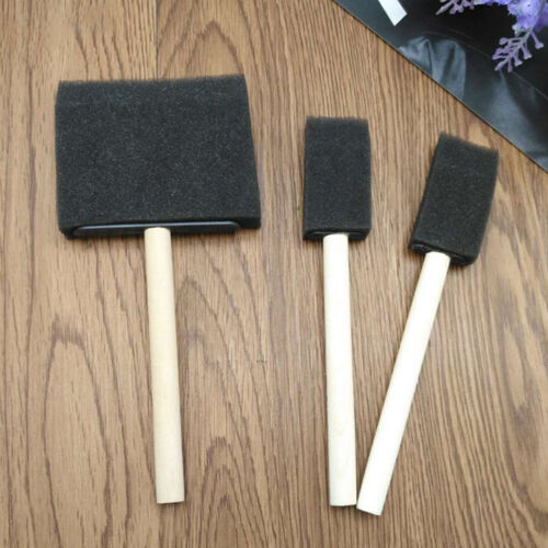 5Pcs Foam Brush Sponge Wooden Handle Brushes Watercolor Painting Drawing Tool