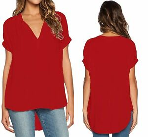 Womens-Red-V-Neck-Short-Sleeve-Oversize-Chiffon-Blouse-Size-6-8-10-12-14-16-18