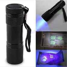9 LED UV TORCIA TORCIA ULTRA VIOLET Blacklight AAA LUCE