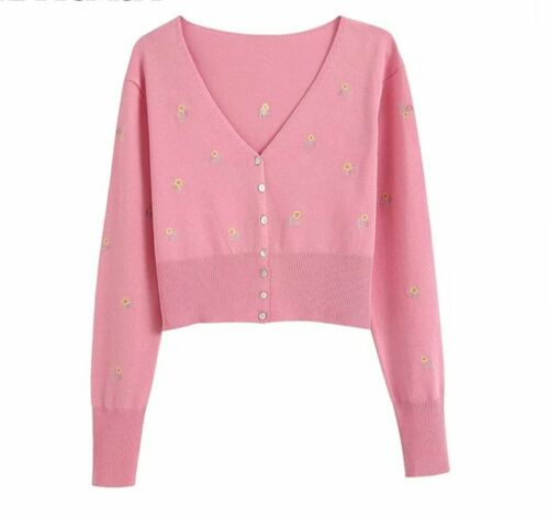 Womens Pretty Pink Embroidered Floral Cropped Long Sleeve Cardigan