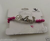 Believe Tinker Bell Tinkerbell Disney Silver & Green Snap On Bracelet Wristband