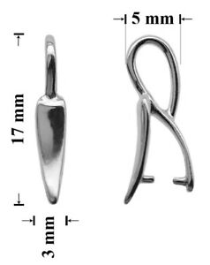 Sterling Silver Pinch Bail with Ring Loop 15x5mm for  Crystals Pendants