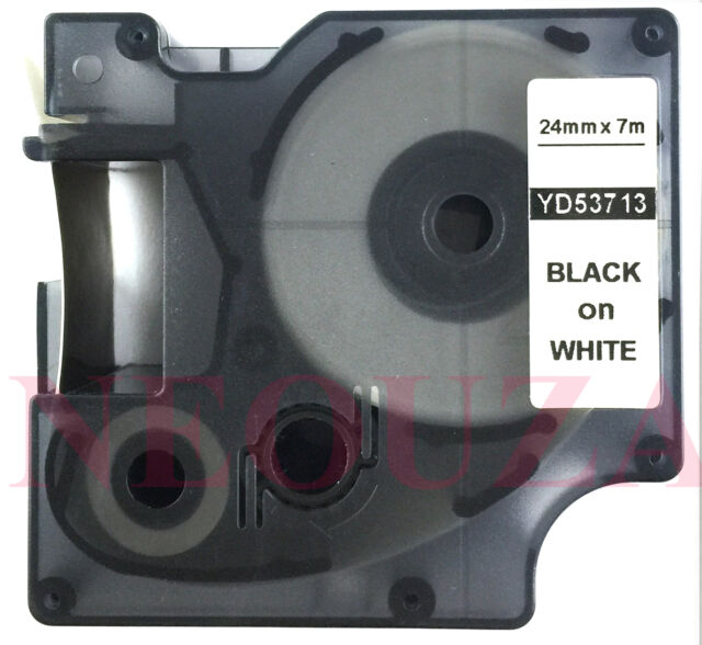Great Quality Black on White Label Tape Compatible for DYMO D1 53713 24MM * 7M