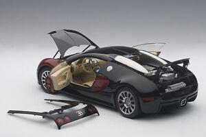 autoart bugatti eb 16.4 veyron production car #001 black/red 1/18 le