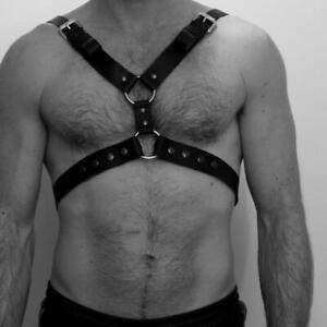 Men/'s Faux Leather Chest Harness Buckles Bondage Clubwear Costume Black  TW