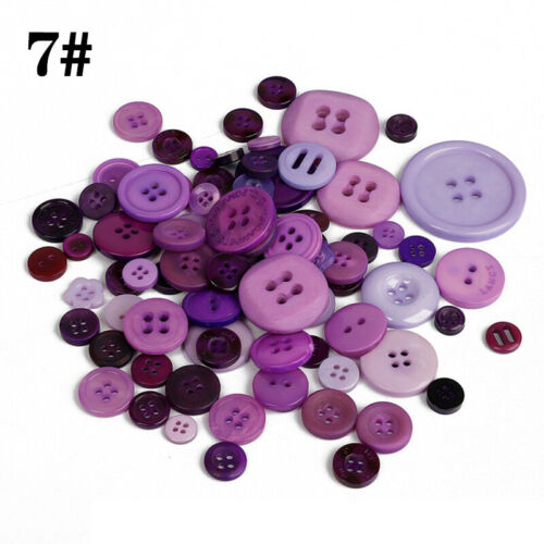 100Pcs Round Resin Buttons for Apparel Sewing Scrapbook DIY Crafts Mixed Shapes