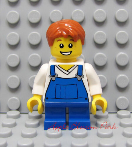 NEW Lego BOY MINIFIG w//White Blue Bib Torso Orange Hair /& Head w//Freckle Smile