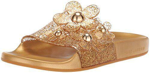 Marc Jacobs Daisy Aqua Pool Slide Slide Slide Sandals gold c8f58c