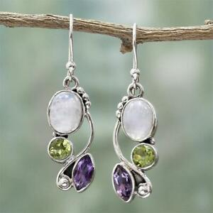 Jewelry-Dangle-Moonstone-Earrings-Multi-Gemstone-Peridot-Amethyst-Ear-Stud