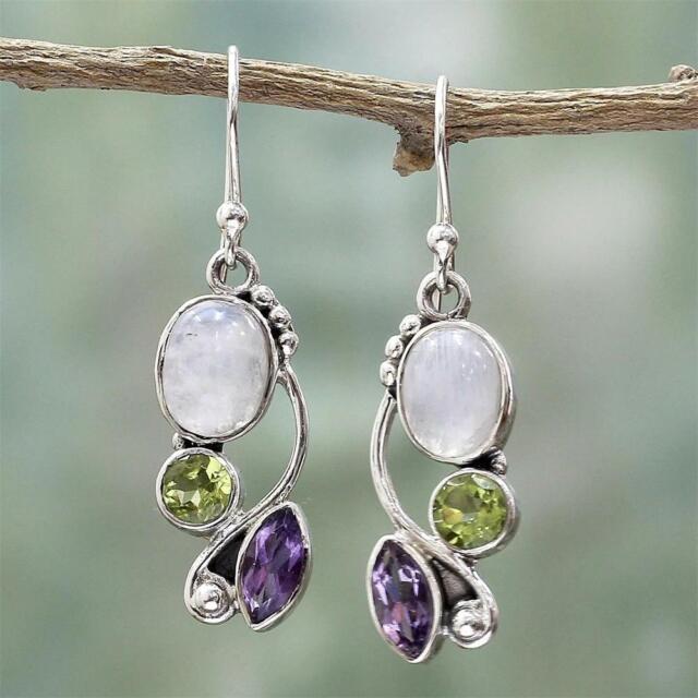 Jewelry Dangle  Moonstone Earrings Multi-Gemstone Peridot Amethyst Ear Stud