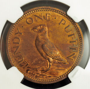 1965-Lundy-Island-Martin-Coles-Harman-Proof-Bronze-1-Puffin-Coin-NGC-PF63