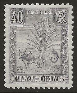 Madagascar-1903-Animals-Zebu-and-Lemur-40c-Gray-Vio-Scott-72-VF-LH-CV-30-00