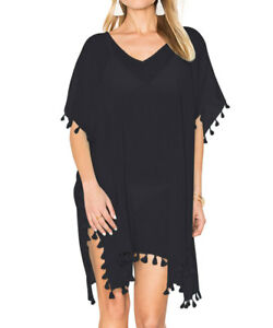 2200d3275 Black Beach Dress Cover Up Kaftan Sarong Summer Wear Swimwear Women ...