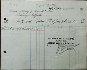 Arthur-Balfour-amp-Co-Capital-Steel-Works-Sheffield-Billhead-31st-March-1930