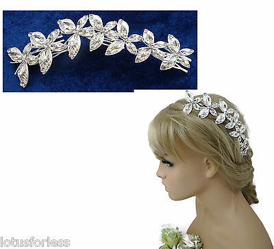 Stunning Butterfly Hair Comb Slide Hair Vine Diamante in Brushed Silver Tone