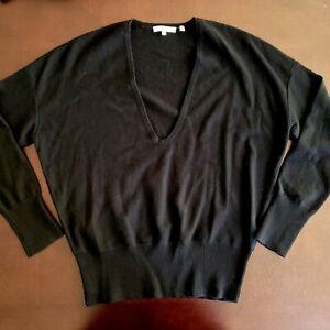 VINCE 100% Cashmere Sweater Deep V Neck Size M Black Womens Pullover