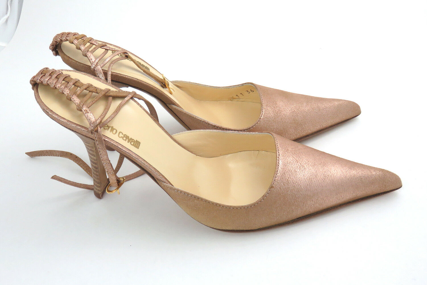 Roberto Cavalli Women High Heels Leather shoes Size 36 US 6 - pink gold