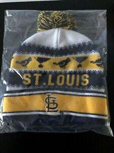 St-Louis-Cardinals-StL-Blues-Winter-Hat-Knit-Cap-Blue-Yellow-White-Pom-Pom-SGA