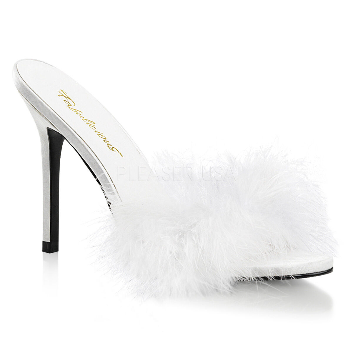Sexy 4  High Heels Stilettos White Marabou Feather Bridal Slides Slippers shoes