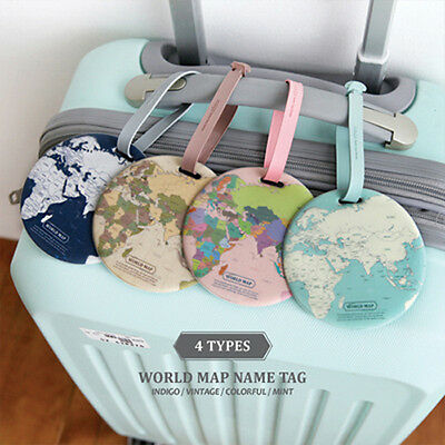 Travel Luggage Name Tag Suitcase Baggage Bag Strap Label Holder, Indigo Worldmap