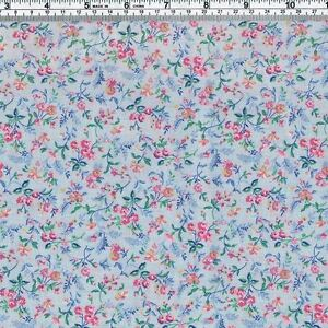 Pretty-PINK-Floral-on-blue-Fabric-FQ