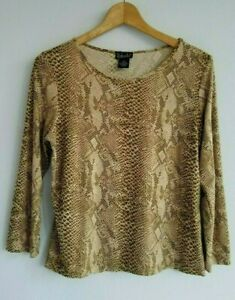 Rafaella Women's Medium Brown Tan Snake Print 3/4 Sleeve Stretchy Knit Top Shirt