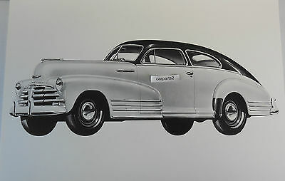 "12 By 18"" Black & White Picture 1948 Chevrolet Fleetline 2door artist conception"