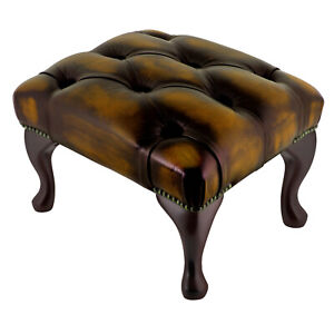 Chesterfield-Deep-Buttoned-Queen-Anne-Footstool-100-Antique-Tan-Leather