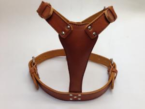 Unique Beautiful Large Plain Leather Dog Harness 13 colors