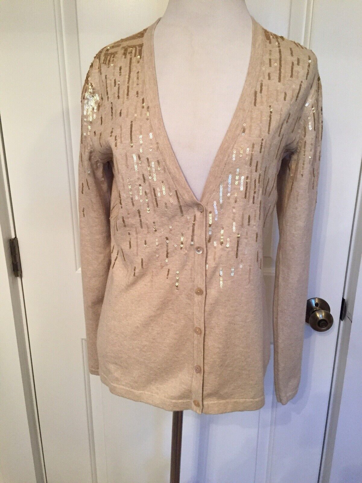 J. McLaughlin Sweater Beige Cardigan  Silber Gold Sequins Long Sleeve XS