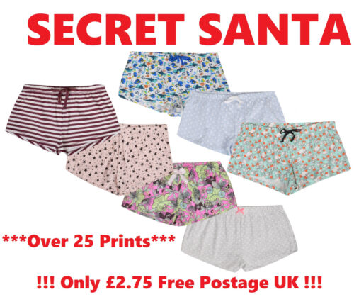 LADIES SECRET SANTA LOUNGE SHORTS GIFT NOVELTY WOMENS CHRISTMAS XMAS PRESENT NEW