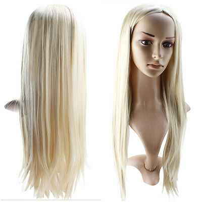 Sexy Long Fashion Straight Full Hair Cosplay Party Wigs Light Gold