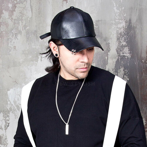 NewStylish Mens Fashion Accessories Hat Double Ring Pierced Leather Ball Cap