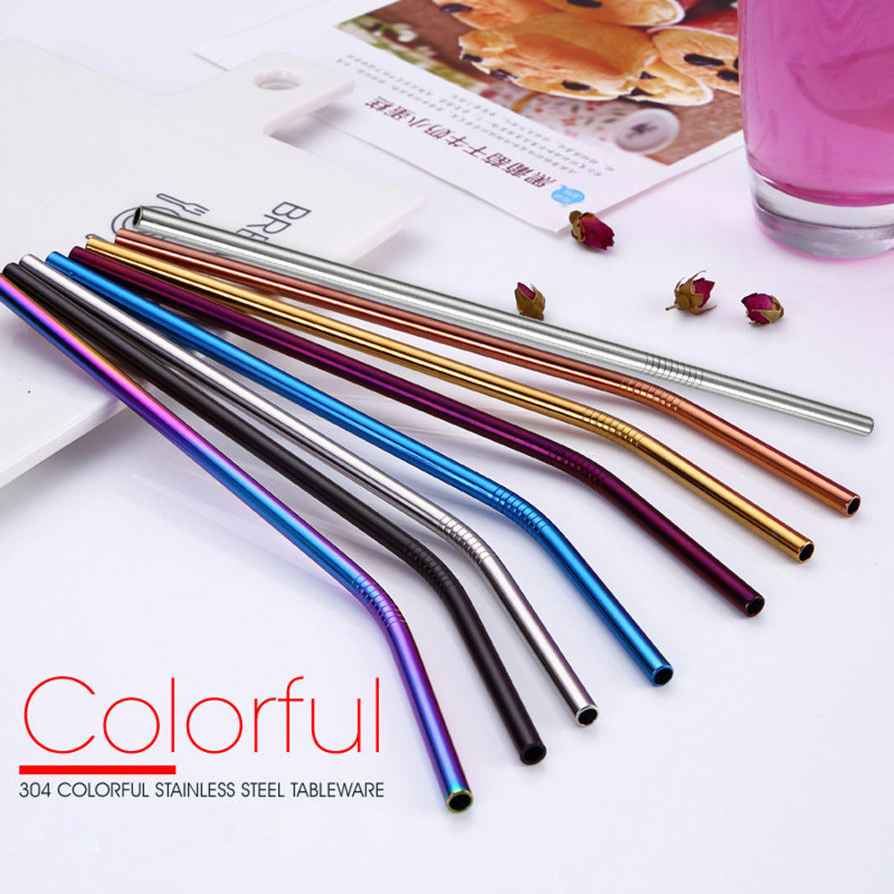 1Pc Reusable Bent Straight Stainless Steel Metal Straws Cocktail Drinking Straw